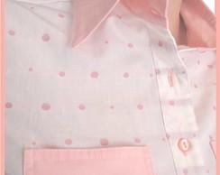 Camisa em tricoline jacquard rosa
