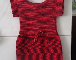 Vestido de Croch� Infantil - Vermelho