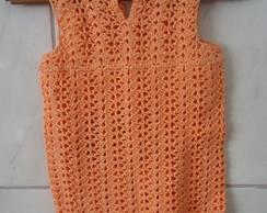 Vestido de Croch� Infantil - Salm�o