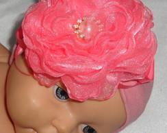 Faixa De Beb�, Flor Organza rosa