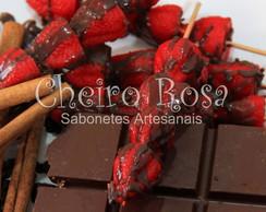 Palito de morango com chocolate