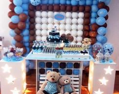 Decora��o clean ursinhos azul e marrom