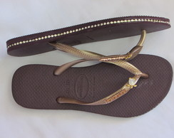 Havaiana SLIM Customizada com Strass