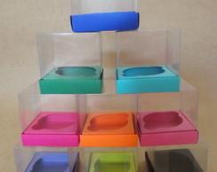 Caixa de acetato para cupcake Colorida