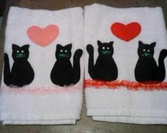 Toalha de M�o com aplique de gatos