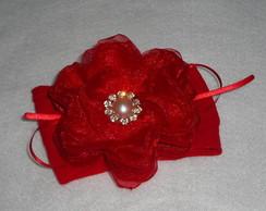 Faixa De Meia vermelha flor organza