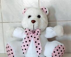 Urso Baby - Po� Branco Rosa Com Marrom