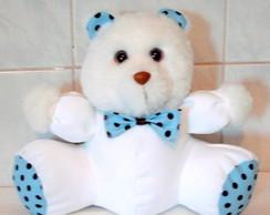 Urso Baby -  Po� Branco Azul Com Marrom