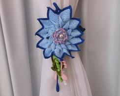 Prendedor De Cortina Flor Azul