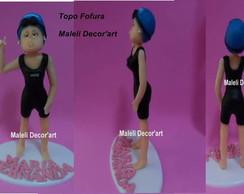 Topo de bolo Nadadora - Modelo Fofura