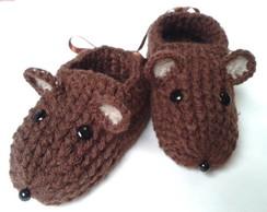 Pantufiha Baby Ratinho marrom