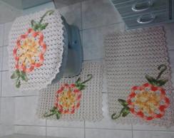 Jogo de Banheiro Flor Laranja