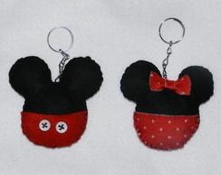 Chaveiro em feltro Mickey e Minnie
