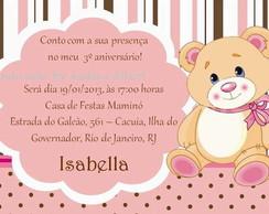 Convite Infantil Rosa/Marrom