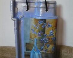 """Telha """"Vaso de Flores Azul"""""""