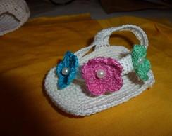 Chinelo em Croch� Com flores
