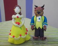 Topo de bolo a Bela e a Fera