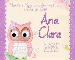Arte Digital Convite Ch� Beb� Coruja
