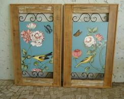 Par de quadros madeira, ferro e tela