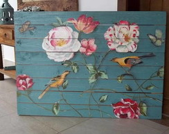Quadro pintado na madeira