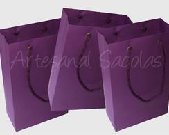 Sacola de papel lil�s 15x24x7 cm