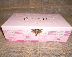 Caixa de Rel�gio - Patchwork rosa