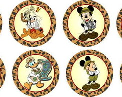Mickey Safari 25 Toppers,adesivos R�tulo