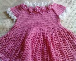 Vestido de beb� em croch� - rosas