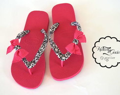 Havaianas Decorada Pink com On�a P&B