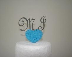 Monograma Mdf com rosas Biscuit