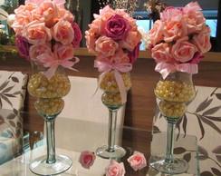 Bola flores na mini ta�a com p�rolas I