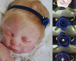 Faixa azul marinho c/ mini flor