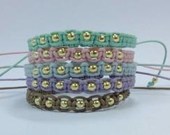 Kit de 5 pulseiras shambalas cores