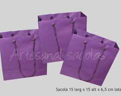 Sacola lil�s -15x15x6,5 cm