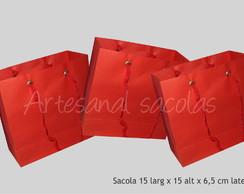 Sacola vermelha 15x15x6,5 cm