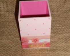 Porta Caneta - Rosa com flores