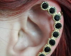 Ear Cuff Fl. Ouro Strass Black