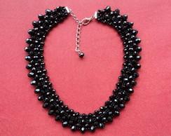 Maxi colar preto cristais luxo