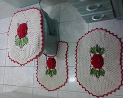Jogo De Banheiro Flor Mistica Vermelha
