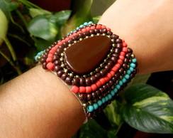 Bracelete Bordado Mi�angas -Marrom/Coral