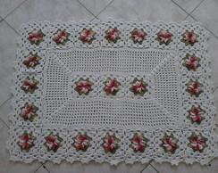 tapete com flores em barbante barroco