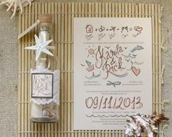 Convite Garrafa Para Casamento Na Praia