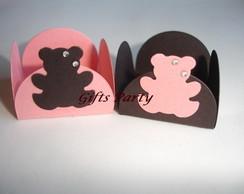 Forminhas ursinho rosa e marrom strass
