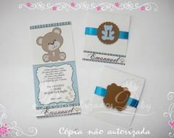 Convite Ursinho azul e marrom LINDO