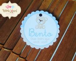 Tag Redonda - Ursinho Azul e Bege
