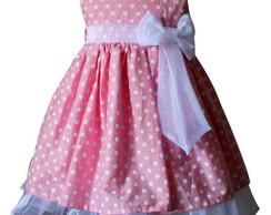 Vestido Rosa Po� Branco 1025