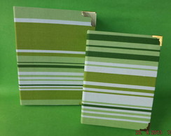 Kit Caixa+�lbum de fotos Listras Verdes
