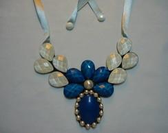Maxi Colar Flor azul (REF: MC 1025)