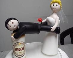 Topo de bolo Noivinhos com cerveja