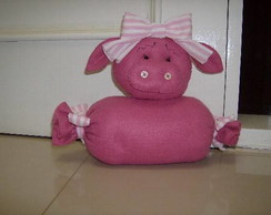 porquinha rosa - peso de porta